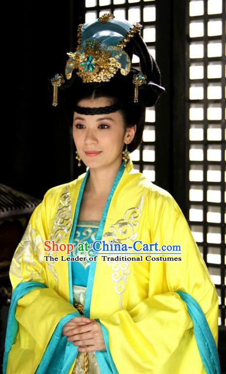 Chinese Ancient Tang Dynasty Palace Princess Taiping Embroidered Dress Replica Costume for Women