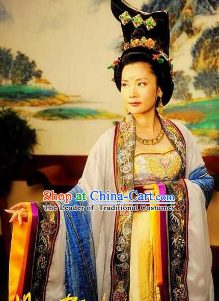 Chinese Ancient Tang Dynasty Imperial Consort Wuhui Hanfu Dress Embroidered Replica Costume for Women