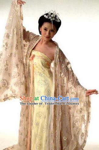 Chinese Ancient Tang Dynasty Imperial Consort of Li Zhi Wu Meiniang Hanfu Dress Embroidered Replica Costume for Women