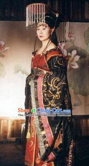 Chinese Ancient Tang Dynasty Queen Wu Zetian Embroidered Replica Costume and Headpiece Complete Set for Women