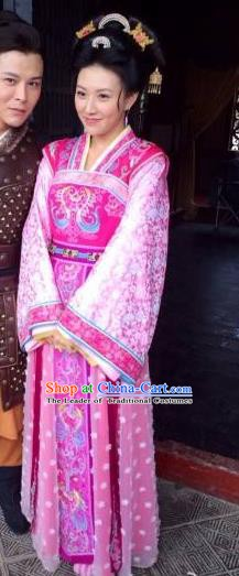 Traditional Chinese Ancient Tang Dynasty Palace Lady Shangguan WanEr Embroidered Dress Replica Costume for Women