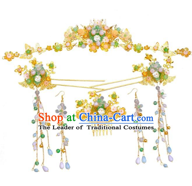 Traditional Chinese Ancient Bride Hair Accessories Xiuhe Suit Hairpins Golden Hair Clasp Complete Set for Women