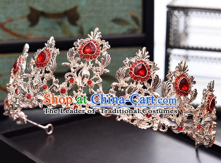 Handmade Bride Wedding Hair Accessories Red Crystal Royal Crown for Women