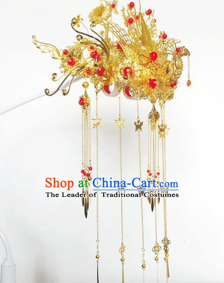 Traditional Chinese Ancient Wedding Phoenix Coronet Hair Accessories Tassel Hairpins for Women