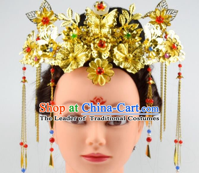 Traditional Chinese Ancient Bride Phoenix Coronet Hair Accessories Hairpins Complete Set for Women