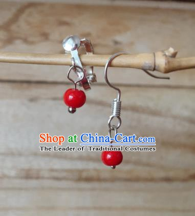 Traditional Chinese Ancient Jewellery Accessories Classical Earrings Red Bead Tassel Eardrop for Women