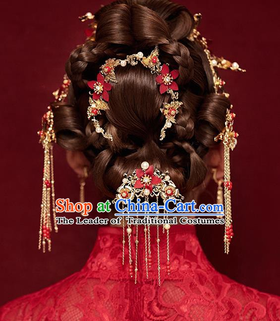 Traditional Chinese Ancient Bride Hair Accessories Xiuhe Suit Red Flowers Hairpins Complete Set for Women