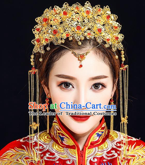 Traditional Chinese Ancient Bride Hair Accessories Xiuhe Suit Golden Phoenix Coronet Hairpins Complete Set for Women