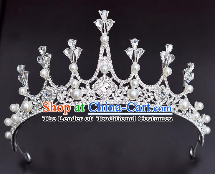 Handmade Bride Wedding Hair Accessories Princess Crystal Beads Hair Clasp Royal Crown for Women
