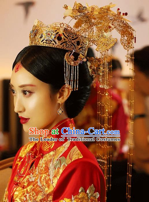 Traditional Chinese Ancient Bride Hair Accessories Xiuhe Suit Extravagant Phoenix Coronet Hairpins for Women