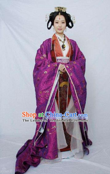 Traditional Chinese Ancient Qin Dynasty Imperial Consort Embroidered Replica Costume for Women
