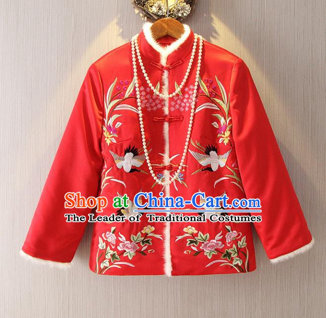 Chinese Traditional National Costume Cheongsam Cotton-padded Jacket Tangsuit Embroidered Red Coats for Women