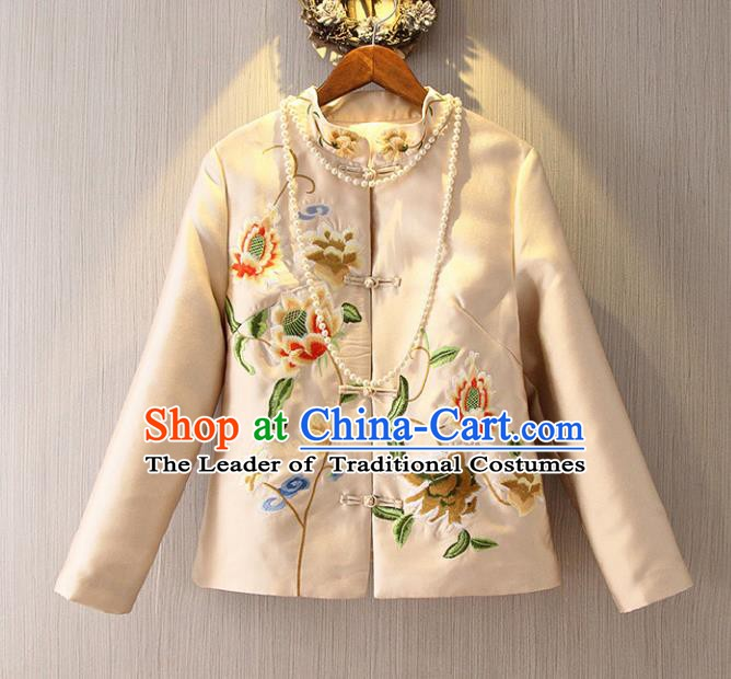 Chinese Traditional National Costume Cheongsam Coats Tangsuit Qipao Beige Jacket for Women