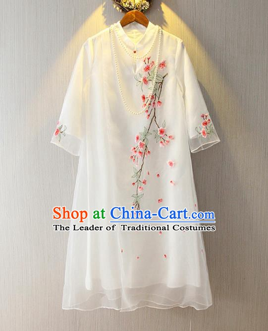 Chinese Traditional National Costume Cheongsam Tangsuit Embroidered White Dress for Women