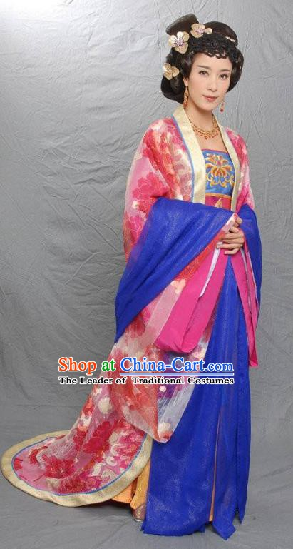 Traditional Ancient Chinese Tang Dynasty Imperial Concubine Li Embroidered Dress Replica Costume for Women