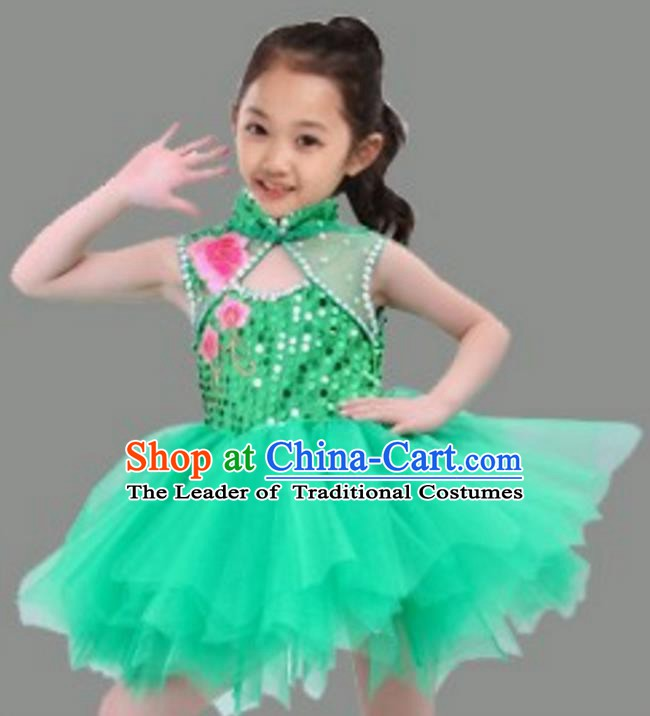 Chinese Classical Stage Performance Dance Costume, Children Chorus Modern Dance Green Dress for Kids