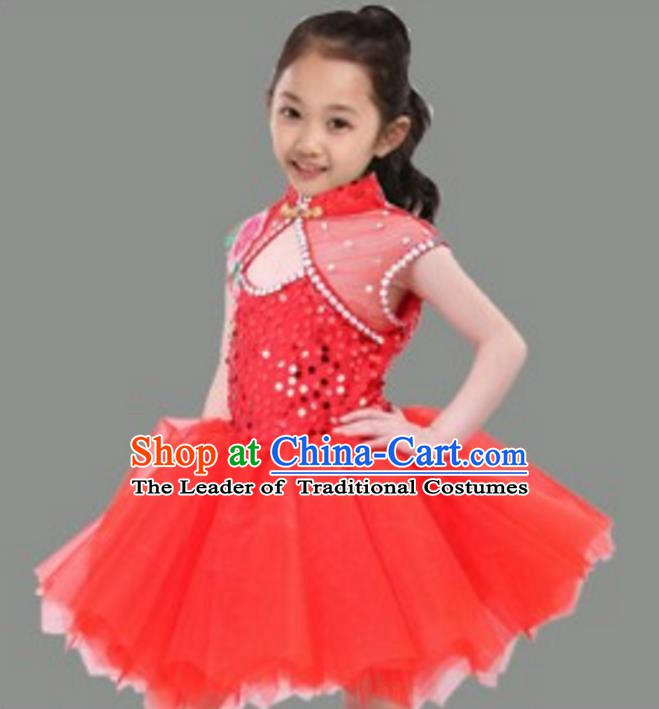 Chinese Classical Stage Performance Dance Costume, Children Chorus Modern Dance Red Dress for Kids