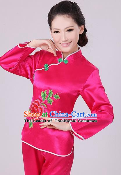 Chinese Traditional Fan Dance Costume, China Folk Dance Rosy Uniform Yangko Clothing for Women
