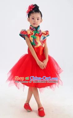 Chinese Classical Stage Performance Classical Dance Costume, Children Yangko Dance Red Bubble Dress for Kids