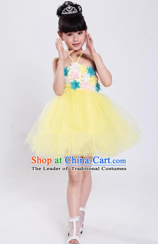 Chinese Classical Stage Performance Modern Dance Costume, Children Dance Yellow Bubble Dress for Kids
