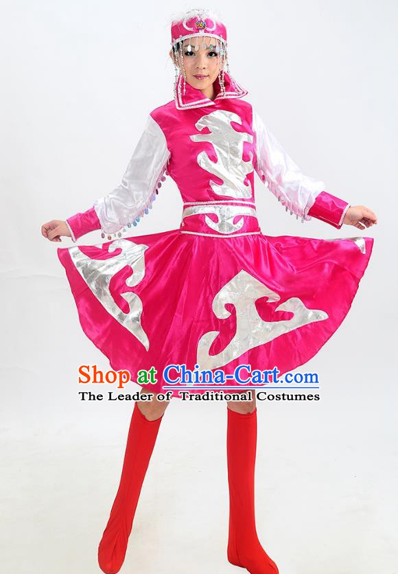Traditional Chinese Mongol Nationality Dance Costume, Mongols Folk Dance Red Dress for Women