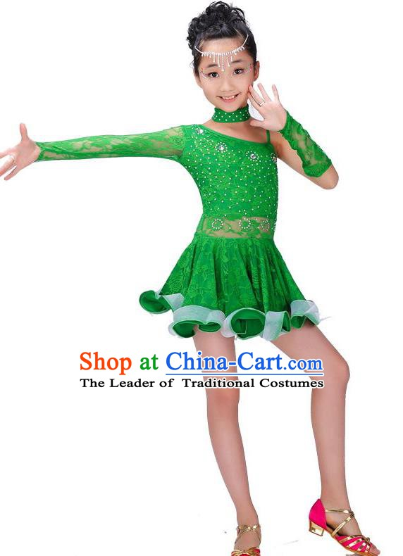 Chinese Classic Stage Performance Costume Children Modern Latin Dance Green Dress for Kids