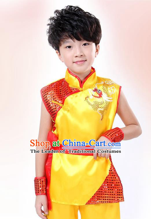 Traditional Chinese Yangge Dance Costume, Folk Dance Lion Dance Short Sleeve Yellow Uniform Yangko Clothing for Kids