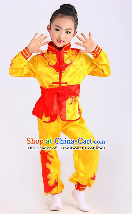 Traditional Chinese Martial Arts Costume, Folk Dance Waist Drum Dance Yellow Uniform Yangko Clothing for Kids