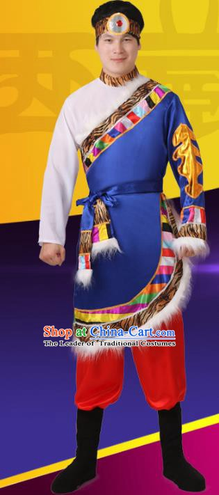 Traditional Chinese Zang Nationality Dance Costume, Folk Dance Ethnic Tibetan Minority Nationality Clothing for Men