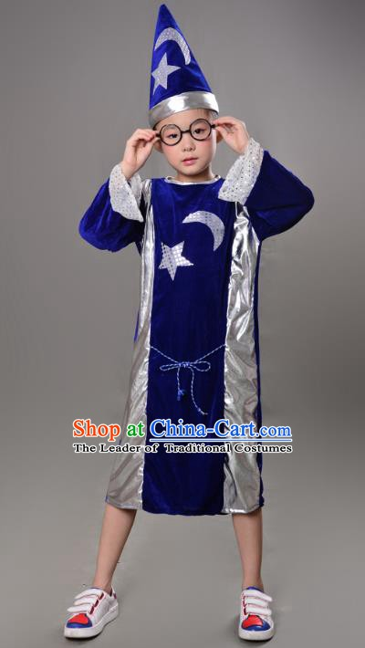 Top Grade Children Stage Performance Costume, Professional Halloween Cosplay Sorcerer Clothing for Kids
