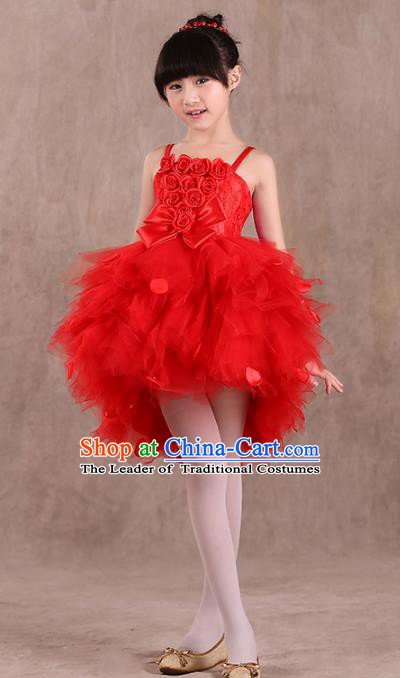 Top Grade Children Stage Performance Compere Costume, Professional Chorus Singing Group Red Bubble Dress for Kids