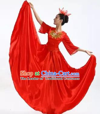 Top Grade Stage Performance Compere Costume, Professional Chorus Singing Group Red Dress for Women