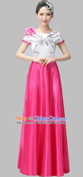 Traditional Chinese Modern Dance Compere Costume, Chorus Singing Group Dance Uniforms, Modern Dance Dress for Women