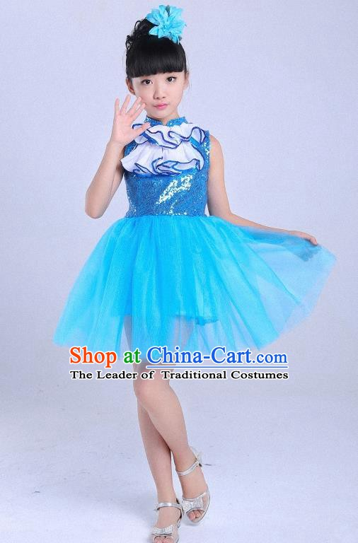 Children Modern Dance Compere Costume Blue Dress, Chorus Singing Group Girls Clothing for Kids
