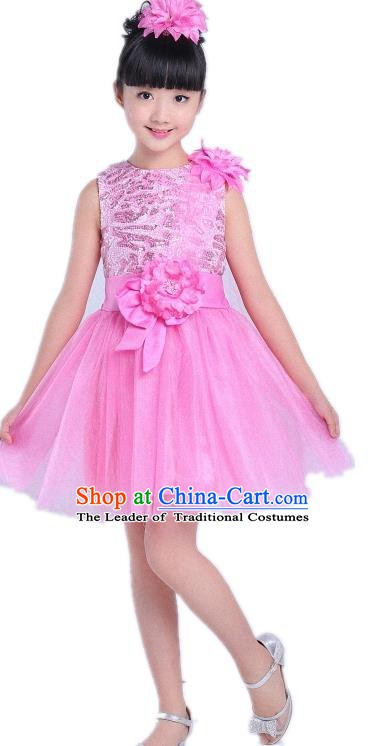Children Modern Dance Compere Costume Pink Bubble Dress, Chorus Singing Group Girls Clothing for Kids