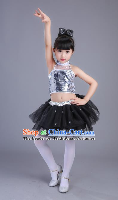 Top Grade Children Modern Dance Costume, Professional Jazz Dance Black Clothing for Kids