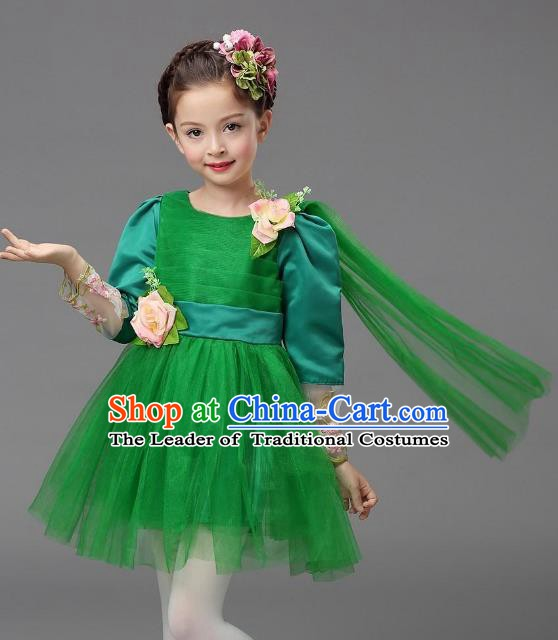 Top Grade Modern Dance Costume, Children Chorus Singing Group Dance Green Veil Dress for Kids