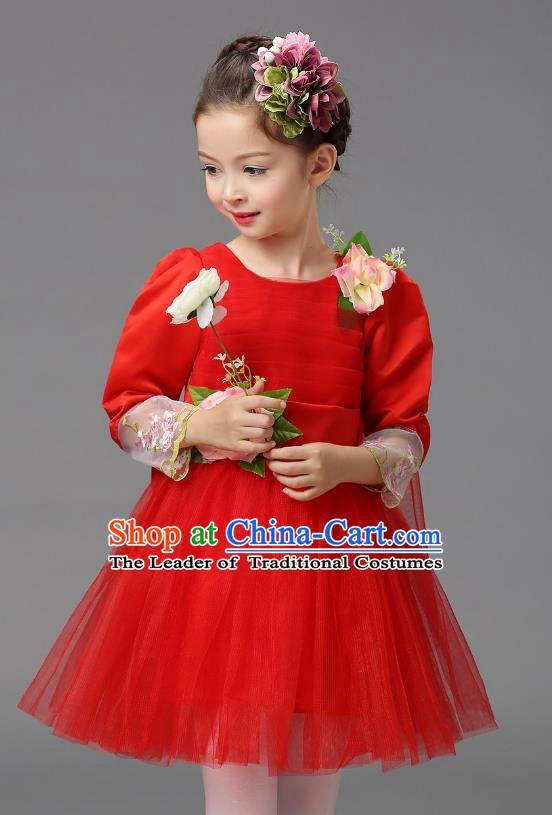 Top Grade Modern Dance Costume, Children Chorus Singing Group Dance Red Veil Dress for Kids