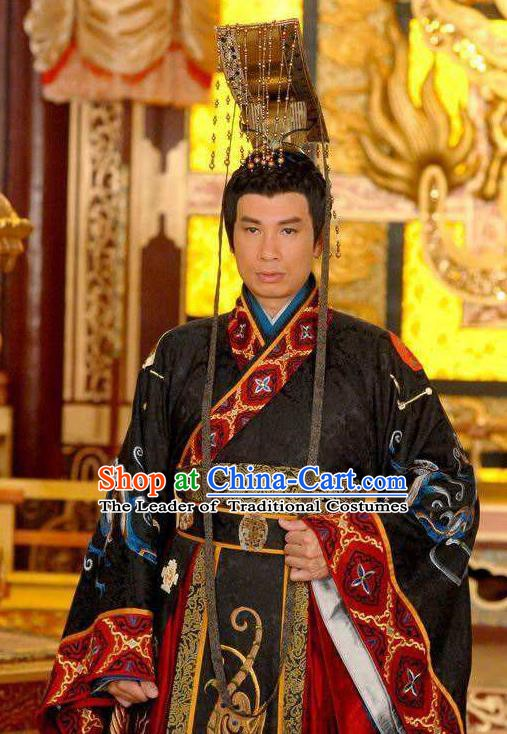 Traditional Chinese Ancient Majesty Costume Tang Dynasty Emperor Li Chen Replica Costume for Men
