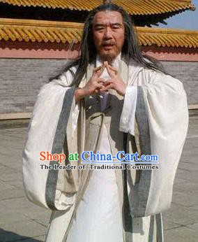 Chinese Ancient Tang Dynasty Taoist Priest Warlock Yuan Tiangang Replica Costume for Men