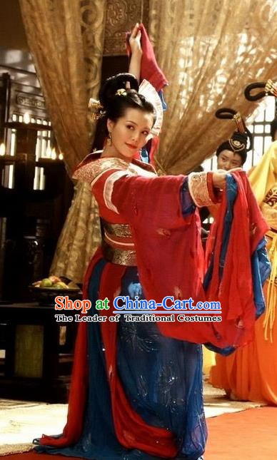 Traditional Chinese Ancient Han Dynasty Concubine Qi Hanfu Dress Imperial Consort Replica Costume for Women