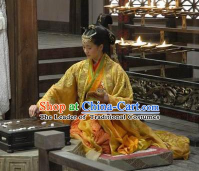 Traditional Ancient Chinese Han Dynasty Prime Minister Dowager Xin Zhui Hanfu Dress Replica Costume for Women