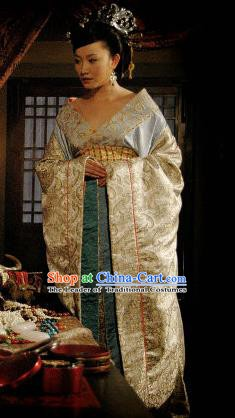 Traditional Chinese Han Dynasty Imperial Consort Qi Hanfu Dress Ancient Palace Lady Replica Costume for Women