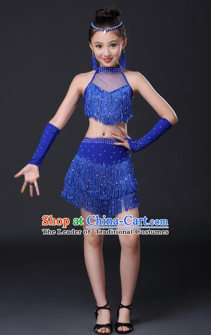 Top Grade Stage Performance Jazz Dance Costume, Professional Modern Dance Royalblue Tassel Dress for Kids