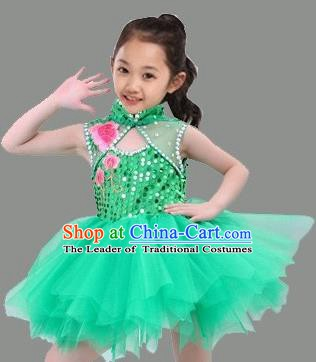 Top Grade Stage Performance Children Compere Costume, Professional Chorus Singing Green Bubble Dress for Kids