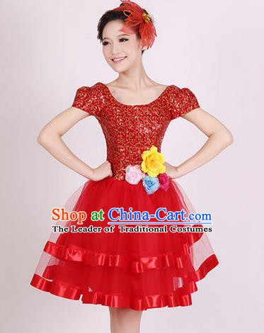 Top Grade Stage Performance Dance Chorus Costume, Professional Modern Dance Red Bubble Dress for Women