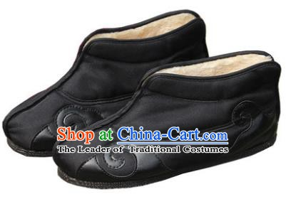 Chinese Traditional Handmade Tai Chi Cloth Shoes Black Boots Martial Arts Shoes Kung Fu Shoes for Men