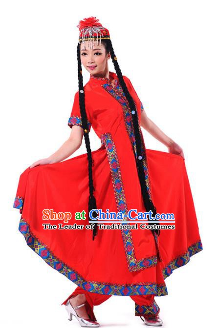 Traditional Chinese Uyghur Ethnic Nationality Dance Costume Red Dress, Chinese Uigurian Minority Dance Costume for Women