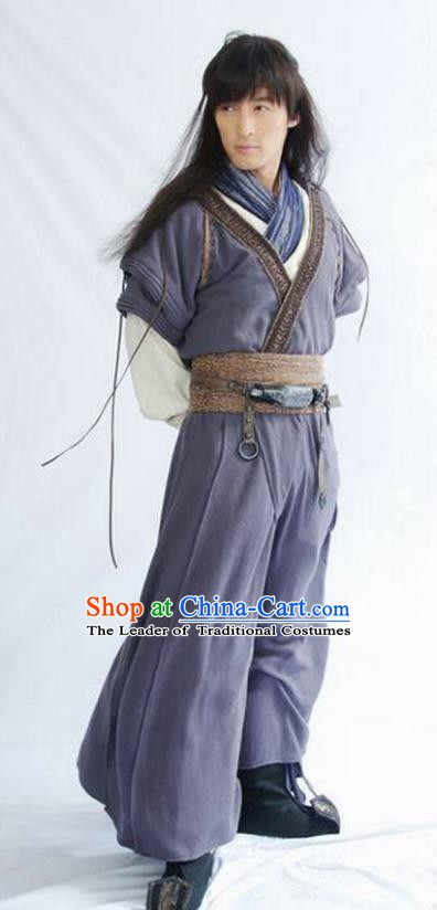Chinese Ancient Qin Dynasty Swordsman Knight Replica Costume for Men