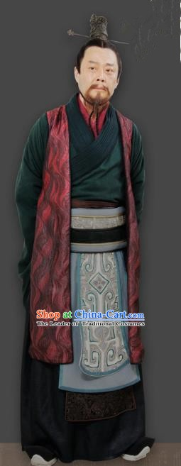 Chinese Ancient Qin Dynasty Prime Minister Li Si Replica Costume for Men